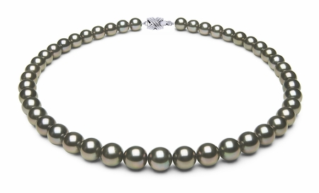 8.2 x 9.8mm Black Slight Green Tahitian Pearl Necklace