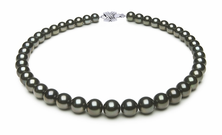 8.4 x 10.3mm Dark Black Green Tahitian Pearl Necklace