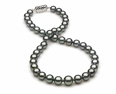 8.4 x 11mm Grey Blue Tahitian Pearl Necklace