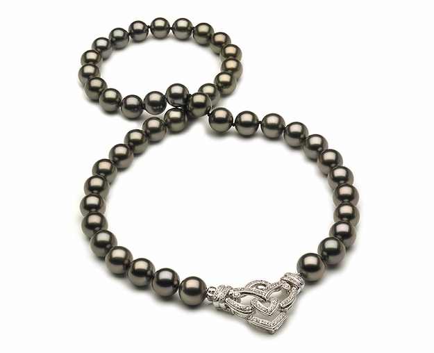 8.5 x 10mm Tahitian Pearl Necklace with Diamond Enhancer