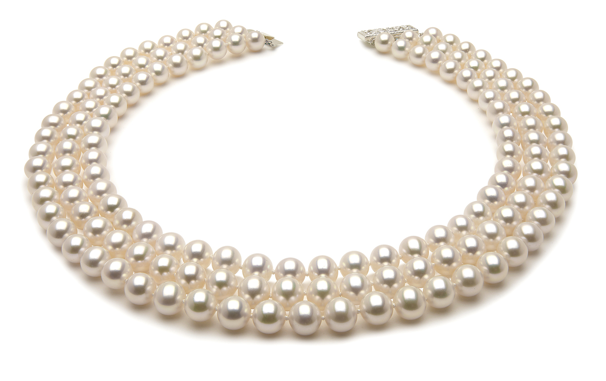 8.5 x 9.0mm Triple Strand Freshwater Pearl Necklace