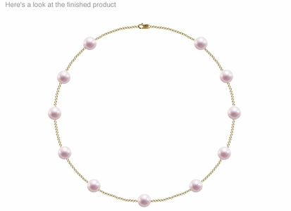 8.5 x 9mm A Quality  Japanese Akoya Cultured Pearl Tin Cup Necklace