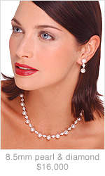 8.5mm Japanese Akoya Cultured Pearl and Diamond Necklace