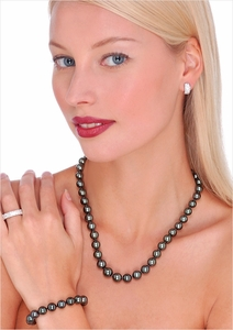 8 x 10mm Black Tahitian Cultured Pearl Necklace - 18 inches