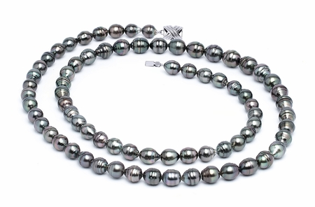 8 x 10mm Dark Black Baroque Tahitian Pearl Necklace 32 Inches