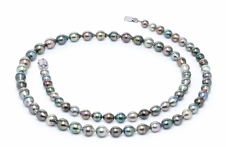 8 x 10mm Multicolor Baroque Tahitian Pearl Necklace 32 Inches