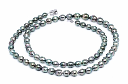 8 x 10mm Peacock Baroque Tahitian Pearl Necklace 32 Inches