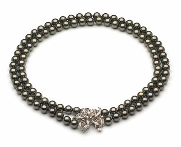 8 x 10mm Tahitian Pearl Necklace Double Strand with Diamond Flower Clasp