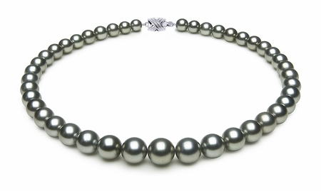 8 x 11.5mm Grey Green Tahitian Pearl Necklace