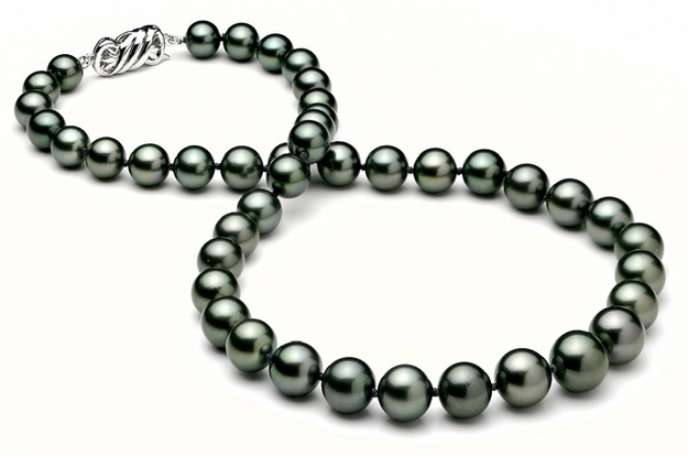 8 x 11mm Black Green Tahitian Cultured Pearl Necklace - 16 inches