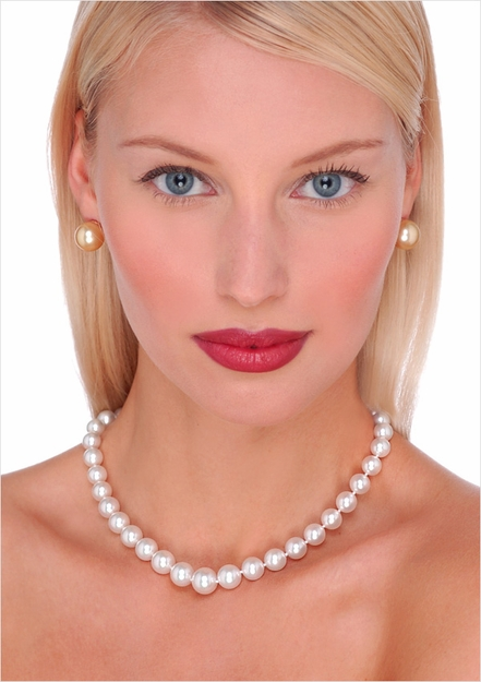 8 x 12mm White South Sea Cultured Pearl Necklace - 16 inches