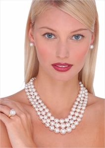 8 x 14.7mm White Australian South Sea Cultured Pearl Triple Strand Necklace