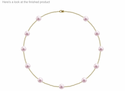 8 x 8.5 mm A+ Quality  Japanese Akoya Cultured Pearl Tin Cup Necklace