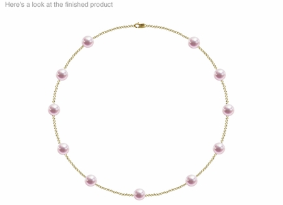 8 x 8.5 mm AA Quality  Japanese Akoya Cultured Pearl Tin Cup Necklace