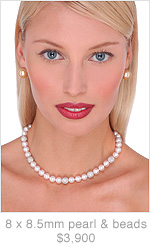 8 x 8.5mm AAA Quality Japanese Akoya Cultured Pearl and Bead Necklace