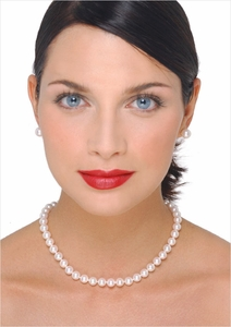 8 x 8.5mm Japanese Akoya Cultured Pearl Necklace - 16 inches