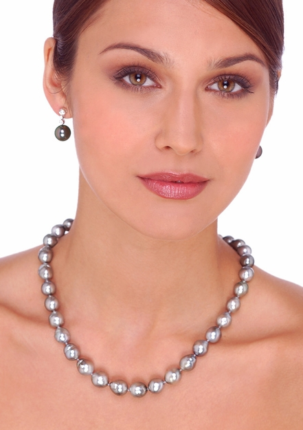 8 x 9.5 mm B Quality Dove Silver Tahitian Baroque Cultured Pearl Necklace - 17 inches