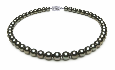 8 x 9.8mm Dark Black Aubergine Tahitian Pearl Necklace