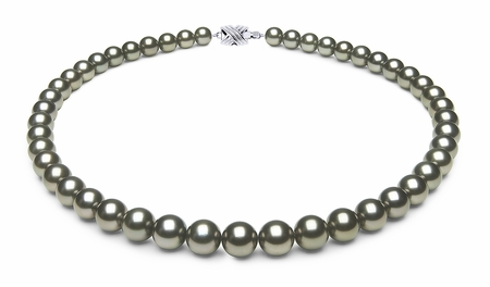 8 x 9.9mm Dark Grey Green Tahitian Pearl Necklace