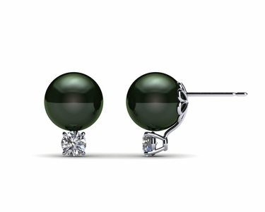8mm Black South Sea Tahitian Pearl Earring Pair with .30 carats tdw