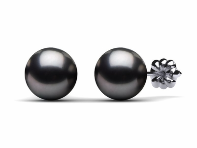 8mm Dark Black Tahitian Pearl Earring Pair