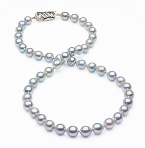 8mm Natural Color Grey Baroque Japanese Akoya Pearl Strand with Silver Clasp