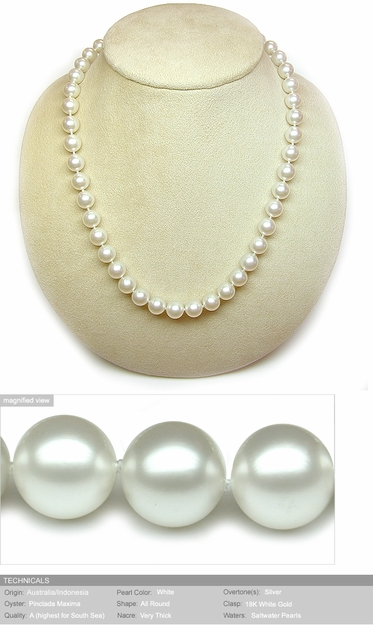 8mm to 10mm White Australian South Sea Cultured Pearl Necklace