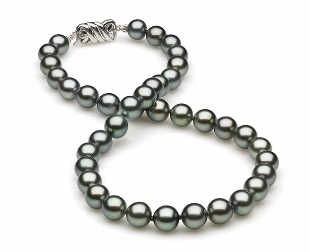 8mm to 9mm A Quality Black Tahitian Pearl Necklace