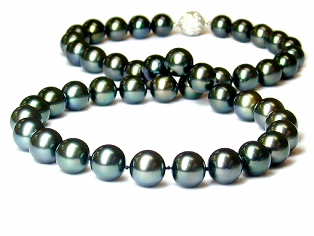 8mm x 11mm Black Tahitian South Sea Pearl Necklace