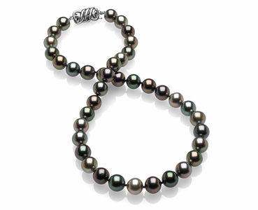 9.2 x 9.7mm Multicolor Tahitian Pearl Necklace
