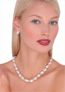 9.5 x 13mm White Australian Keshi South Sea Cultured Pearl Necklace - 17 inches