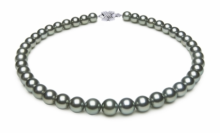 9 x 10.3mm Grey Blue Tahitian Pearl Necklace