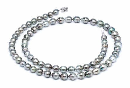 9 x 11mm Grey Baroque Tahitian Pearl Necklace 32 Inches