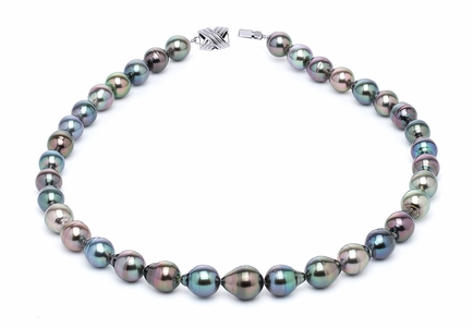 9 x 11mm Tahitian Pearl Necklace Serial Number s10-multi-color-b21