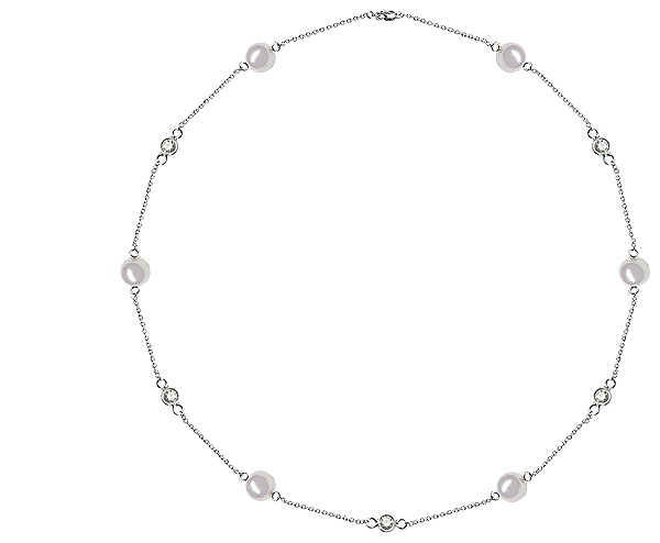 9 x 9.5 mm Pearl and Diamond Tin Cup Necklace