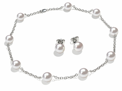 9 x 9.5 mm White South Sea Cultured Pearl Tin Cup Necklace