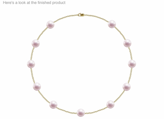 9 x 9.5mm A Quality  Japanese Akoya Cultured Pearl Tin Cup Necklace