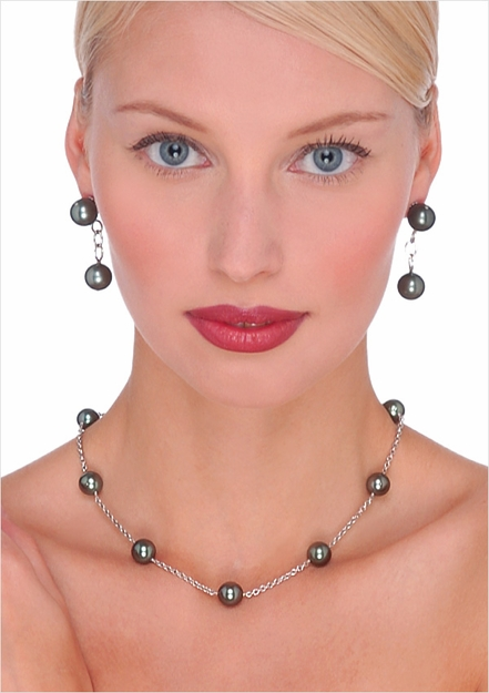 9 x 9.5mm Tahitian South Sea Cultured Pearl Tin Cup Necklace