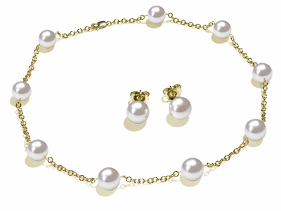9 x 9.5mm White South Sea Cultured Pearl Tin Cup Necklace