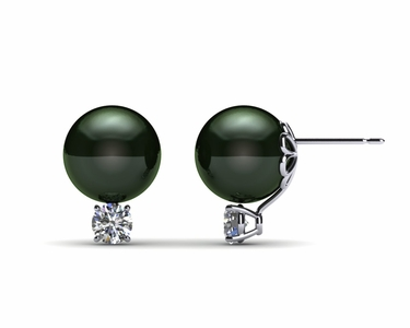 9mm Black South Sea Tahitian Pearl Earring with .40 carats tdw