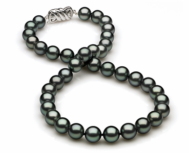 9mm to 10mm C Quality Black Tahitian Pearl Necklace