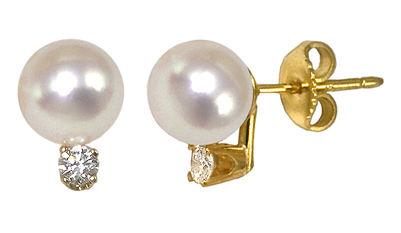 9mm White Cultured Pearl and Diamond Earring with .40 carat tdw