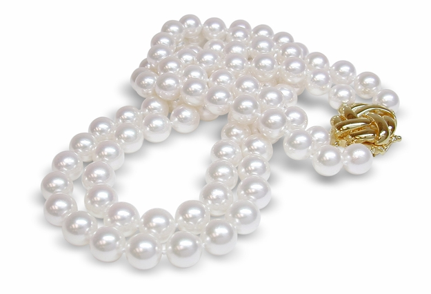 A Quality 7.5 x 8 mm Japanese Akoya Cultured Double Strand Pearl Necklace