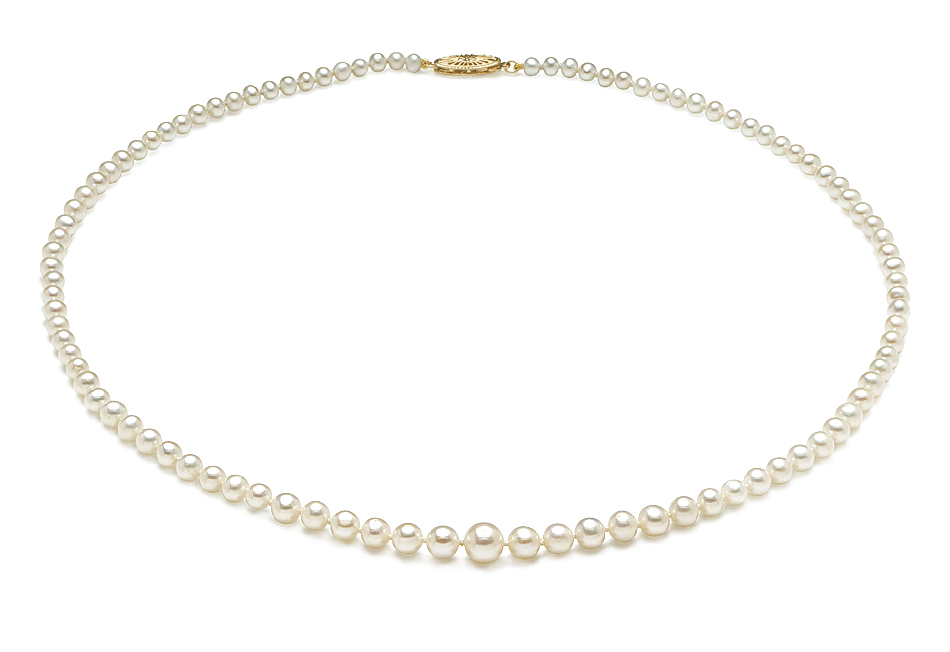 Aaa 3 5 X 9 5mm Graduated Pearl Necklace American Pearl