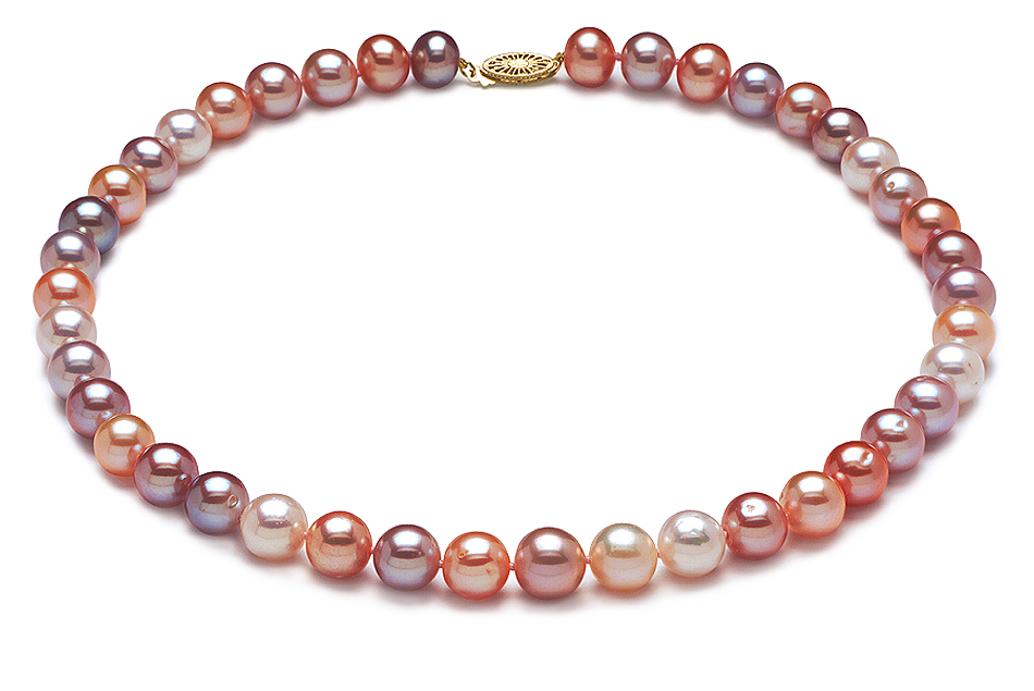 Aaa 9 X 10mm Multicolor Pearl Necklace American Pearl
