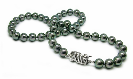 AAA Quality 9 x 9.5mm Black Bodycolor Japanese Akoya Cultured Pearl Nekclace