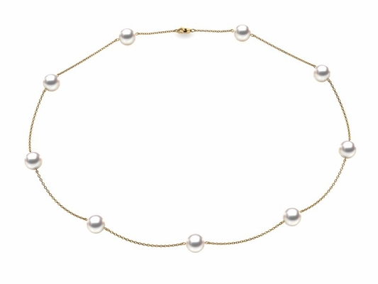 Akoya Pearl Tin Cup Necklaces