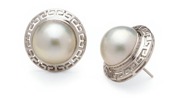 Aztec a Mabe Cultured Pearl Earring