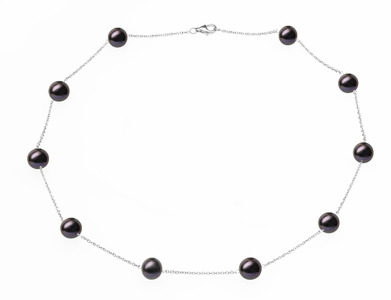 Black Freshwater Tin Cup Necklace