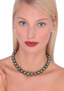 Black Tahitian Cultured Pearl Necklace - 16 inches